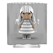 Cute Little 3d Girl Shower Curtain