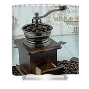 Daily Grind Coffee Beans Shower Curtain