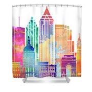 Atlanta Landmarks Watercolor Poster Shower Curtain
