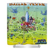 Dallas Texas Cartoon Map Shower Curtain