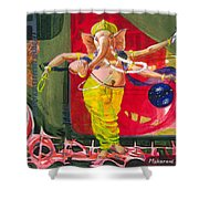 Dancing Ganapati With Universe And Abstract Back Ground Shower Curtain