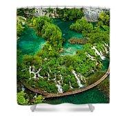 Dave Ruberto - Wonderful Green Nature Waterfall Landscape  Shower Curtain