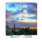 David Tower At Sunset  Shower Curtain