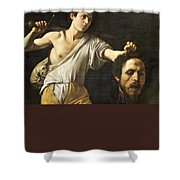 David With The Head Of Goliath Shower Curtain