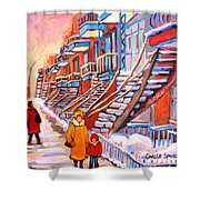 Debullion Street Winter Walk Shower Curtain