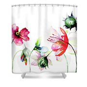 Decorative Wild Flowers Shower Curtain