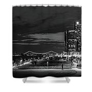 Detroit River Walk Panorama Shower Curtain