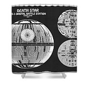 Diagram Illustration For The Death Star Ds 1 Orbital Battle Station From Wars Shower Curtain