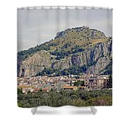 Distant View Of Cefalu Sicily  Shower Curtain