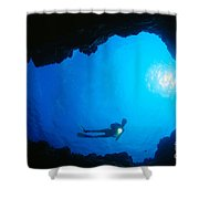 Diver At Cavern Entrance Shower Curtain