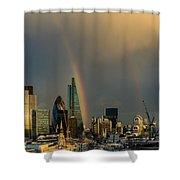 Double Rainbow Over The City Of London Shower Curtain