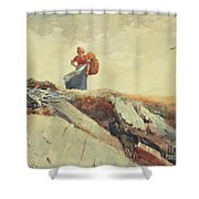 Down The Cliff Shower Curtain by Winslow Homer