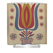 """Drawing For Plate 9: From The Portfolio """"folk Art Of Rural Pennsylvania"""" Shower Curtain"""
