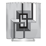 Drawn2shapes2bnw Shower Curtain