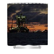 Drill Rig At Dusk Shower Curtain