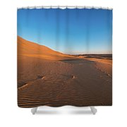 Dune With Magnificent Sandy Waves At Hot And Windy Morning In Desert  Shower Curtain