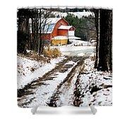 Early Winter Barn Shower Curtain