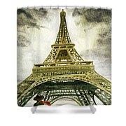 Eiffel Tower Paris Shower Curtain by Irina Sztukowski