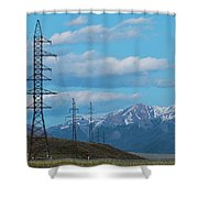 Electric Power Transmission Pylons On Inner Mongolia Grassland At Sunrise  Shower Curtain