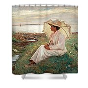 Elegant Lady By The Sea Shower Curtain