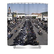 Elevated Panoramic View Of Main Street Shower Curtain