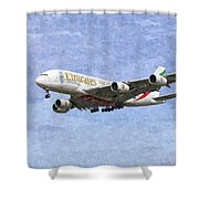 Emirates A380 Airbus Oil Shower Curtain