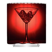 Empty Cocktail Glass On Red Background Shower Curtain
