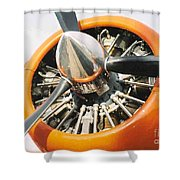 Engine And Propellers Of Aircraft Close Up Shower Curtain