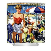England Weston Super Mare Vintage Travel Poster Shower Curtain