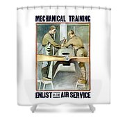 Mechanical Training - Enlist In The Air Service Shower Curtain