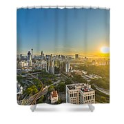 Epic And Beautiful Sunrise At Kuala Lumpur City Center Shower Curtain
