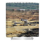 Excavators Working On Open Pit Coal Mine Shower Curtain