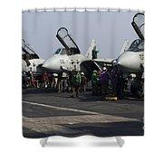 F-14d Tomcats On The Flight Deck Of Uss Shower Curtain