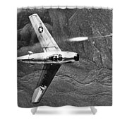 F-86 Jet Fighter Plane Shower Curtain by Granger