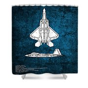 F22 Raptor Blueprint Shower Curtain