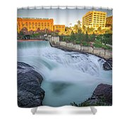 Falls And The Washington Water Power Building Along The Spokane  Shower Curtain