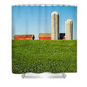 On Green And Blue Shower Curtain
