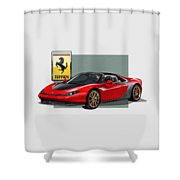 Ferrari Sergio With 3d Badge  Shower Curtain by Serge Averbukh