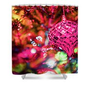 Festive Christmas Tree With Lights And Decorations Shower Curtain