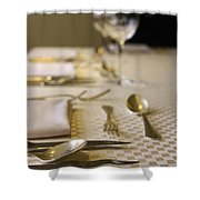 Festive Table Setting For A Formal Dinner  Shower Curtain