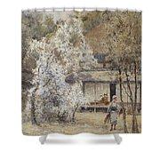 Figure In A Japanese Landscape Shower Curtain