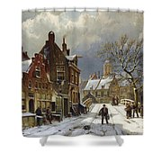 Figures In The Streets Of A Wintry Dutch Town Shower Curtain