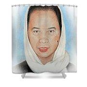 Filipina Woman Wearing A Scarf Shower Curtain