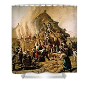 Fire In A Haystack Shower Curtain