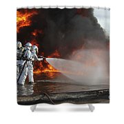 Firefighting Marines Battle A Huge Shower Curtain