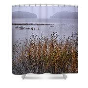 First Snow Falling Shower Curtain