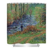 Fisher On The Bank Of The River Shower Curtain