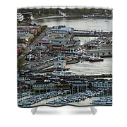 Fisherman's Wharf And Pier 39 Aerial Photo Shower Curtain