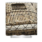 Fishermen Bamboo Crab Cages At Kep Market Cambodia Shower Curtain
