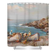 Fishermen With Boats Shower Curtain